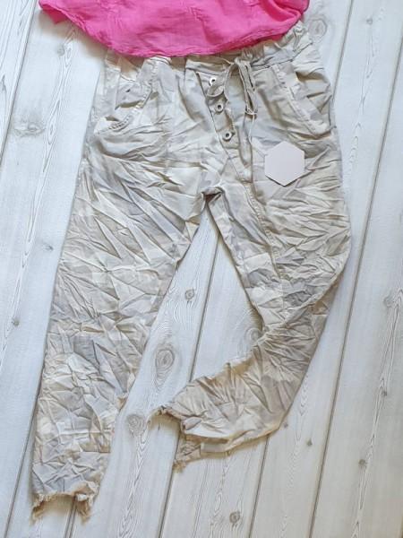 36 38 38/40 Joggpant Hose cropped ausgefranst schräge Knopfleiste beige Camouflage