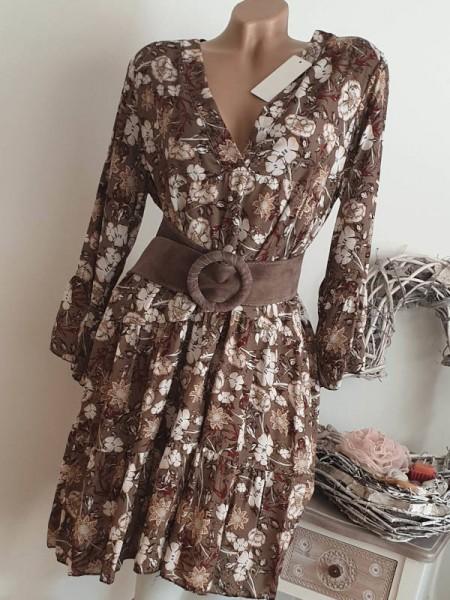 Tunika Kleid 36 38 40 40/42 Neu braun floral Hängerchen Viskose