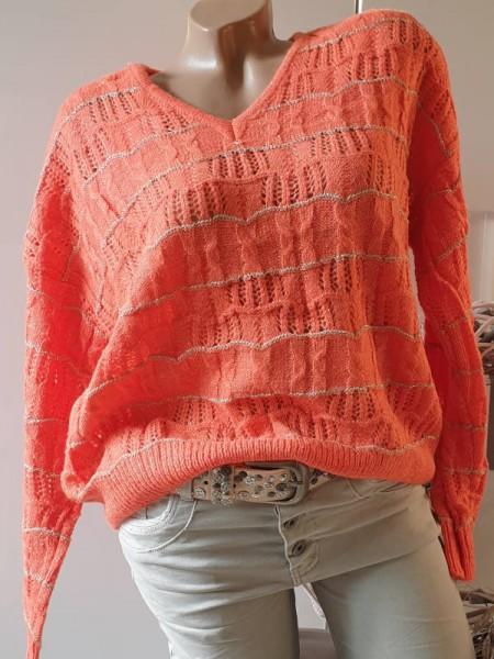 orange 40 42 Oversized Pullover Lochmuster Pulli NEU V-Neck Lurexgarn