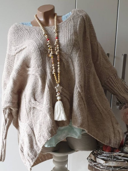 beige 38 40 42 44 Strick Pulli oversized Pullover Zopfmuster V-Neck