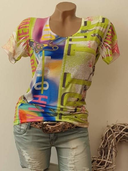 MISSY T-Shirt bunter Print Shirt S 36 Strass Nieten Neu