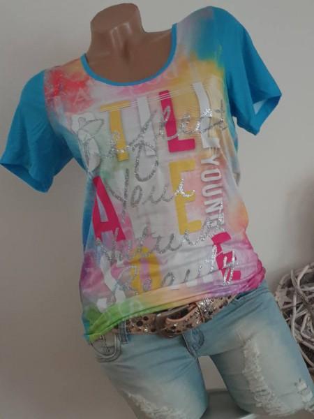 M 38 MISSY T-Shirt Shirt bunt Letterprint Glitzermetallicprint silber NEU