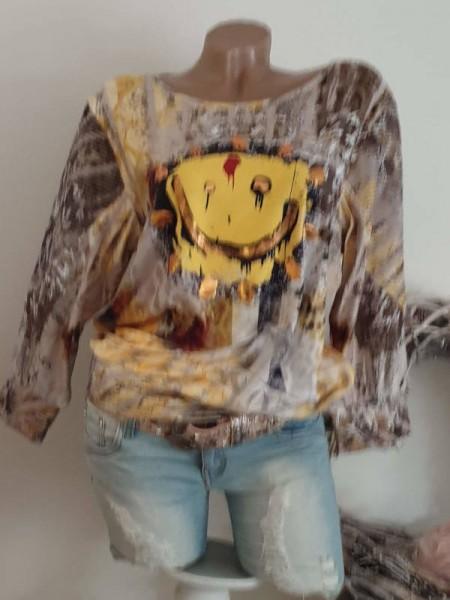 Tunika M 38 40 MISSY Shirt Ausbrenner kleines Bündchen Smiley Print