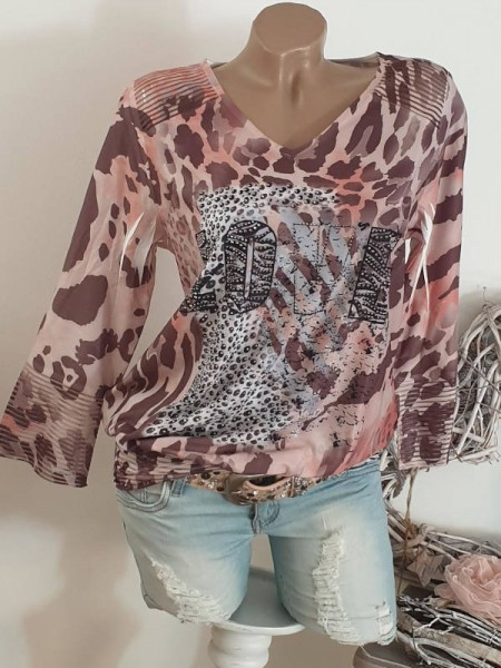 breites Bündchen Leomix Print Tunika L 40 MISSY Shirt Ausbrenner
