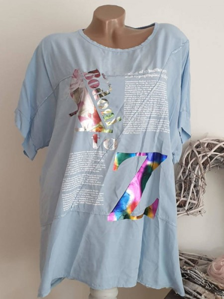 Tunika 40 42 44 NEU Shirt Baumwolle hellblau Metallic Print Kurzarm