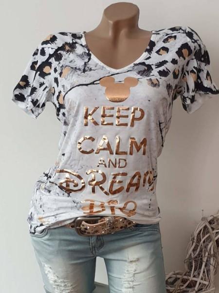 V-Neck MISSY T-Shirt Shirt M 38 Mouse Kopf Leo Print NEU
