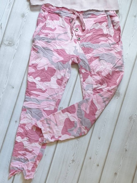 36 38 38/40 Joggpant Hose cropped ausgefranst schräge Knopfleiste pink Camouflage