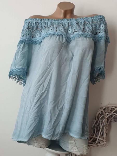 Carmenbluse mit Spitze Tunika türkis NEU 40 42 44 Baumwolle Italy fluffig Bluse