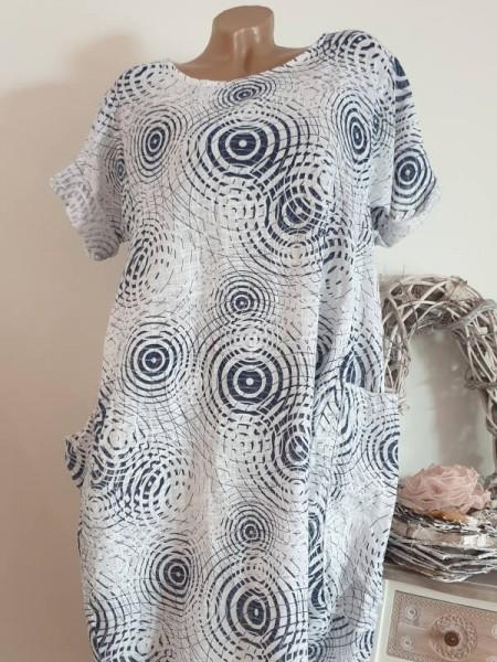 Kleid Ballonform weiss blau gemustert Taschen 42 44 46 Kurzarm Italy Tunika