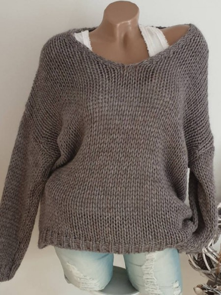 Grobstrick Knit Pulli schlammbraun Pullover 40 42 44 oversized Ärmel überschnitten