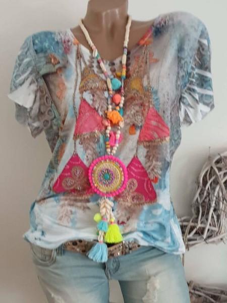 V-Neck MISSY Tunika Shirt XL 42 44 bunt gemustert Nieten Print NEU