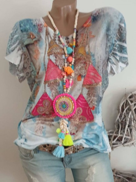 V-Neck MISSY Tunika Shirt S 36 38 bunt gemustert Nieten Print NEU