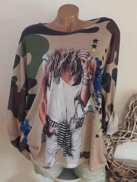38 40 42 Tunika Langarmshirt Neue Kollektion Longsleeve Camouflage Fashionprint