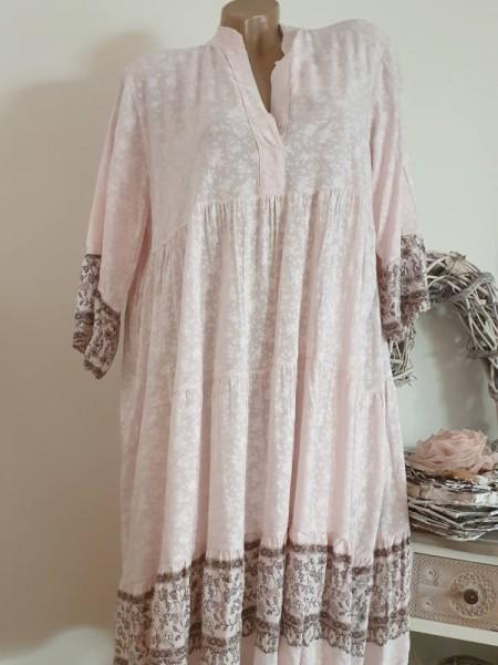 Tunika Kleid 42 44 46 rosa gemustert Hängerchen Viskose