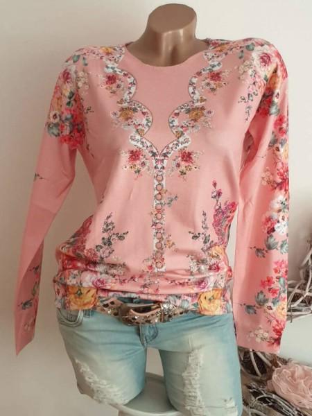 Strickpulli rosa Floral Pulli Pullover S/M 36 38 MISSY Feinstrick