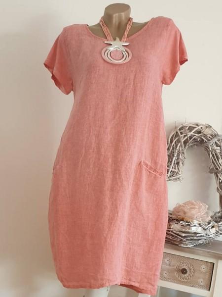 Kleid 38 40 42 Kurzarmkleid coralle Baumwolle Italy A-Linie Taschen