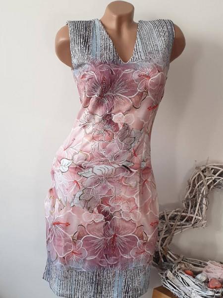 Romantik Print Kleid MISSY ärmellos S 36 V-Neck stretch butterweich Glitzer