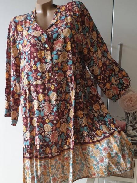 bordeaux bunt Tunika Kleid 40 42 44 Knopfleiste Hängerchen Viskose