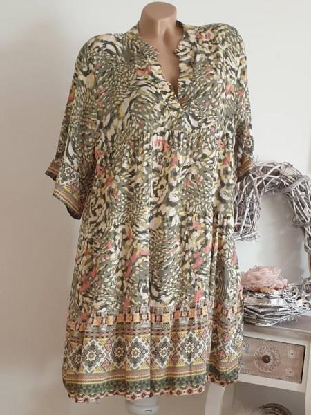 Tunika Hängerchen Viskose Kleid 40 42 44 oliv grün gemustert