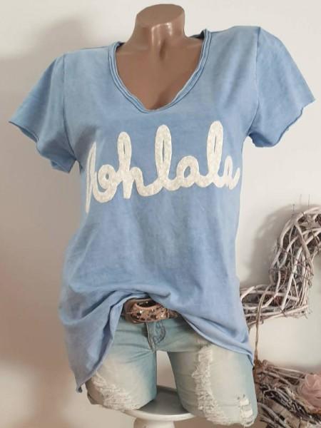 38 40 42 Tunika jeansblau Italy T-Shirt Shirt Flockprint tailliert Rollbündchen