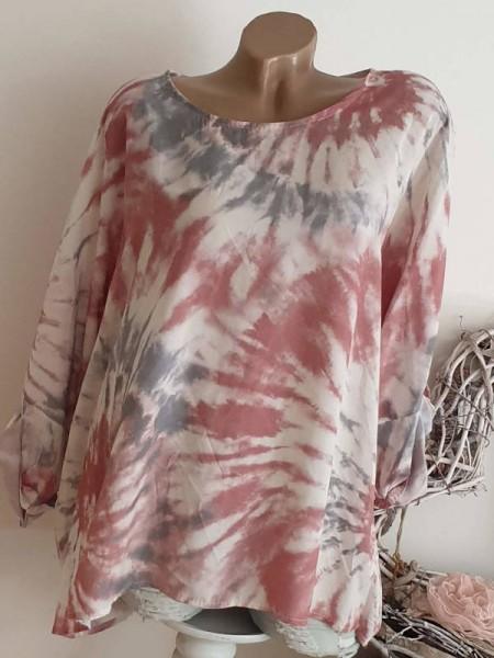 Tunika Shirt Batik Print rosa altrosa 44 46 48 NEU Oversized Italy
