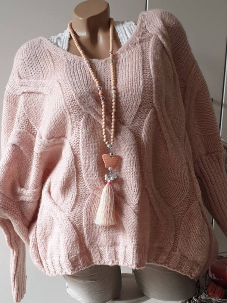 oversized Pullover rosa 38 40 42 44 Strick Pulli rosa Zopfmuster V-Neck