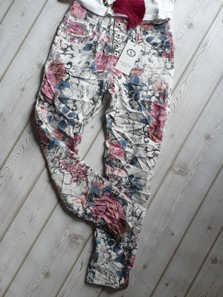 Hose weiss floral bunt M 38 Jeans KAROSTAR Chino Boyfriend Italy Style Jeans