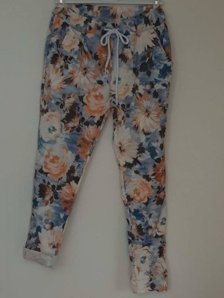 stretchige Joggpant Hose 38 40 42 Tunnelzug Italy Baggy blau floral