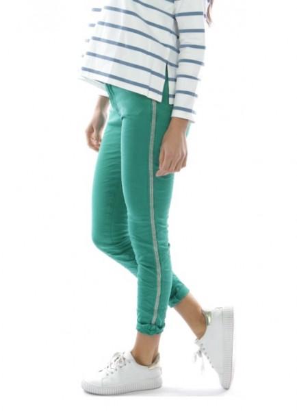 smaragdgrün MELLY & CO Hose Skinny XL 42 silber Metall Perlen Streifen Jeans