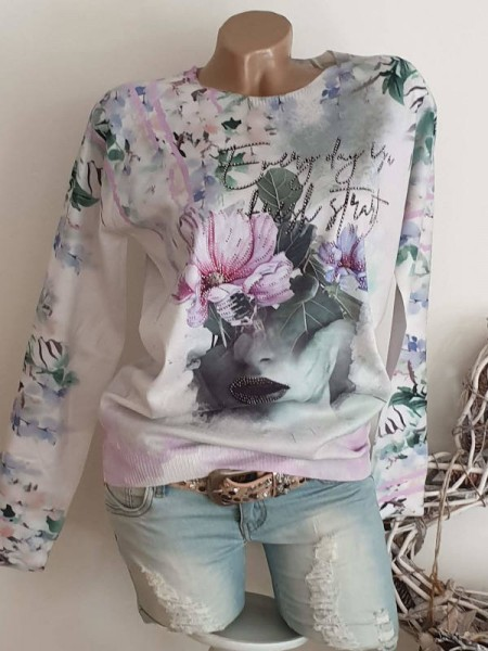 Pulli Feinstrick Pullover M/L 38 40 MISSY weiss floral bunt neue Kollektion