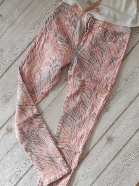 M 38 Jeanshose neue Kollektion rosa gemusterte Jeans Hose TOXIK3 stretch