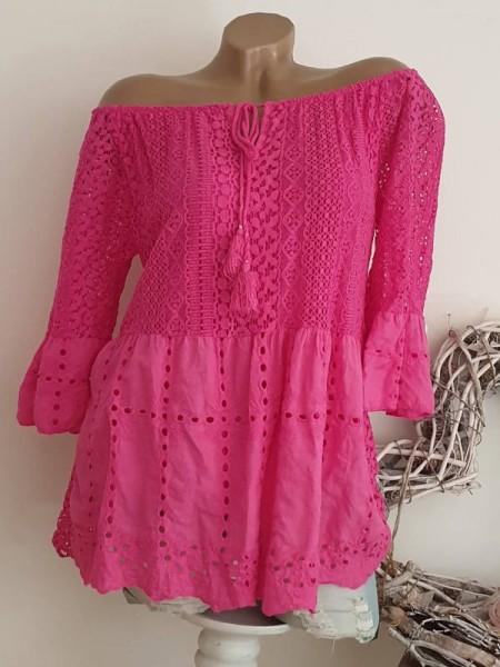 Tunika Lochstickerei Bluse 36 38 40 Carmentunika pink NEU Italy