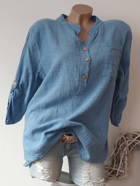 jeansblau Tunika Bluse Neu Leinenoptik Italy Hemdbluse 38 40 42