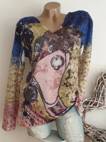 Shirt L 40 MISSY Langarmshirt Longsleeve Abstrakter Print Glitzer Nieten Tunika