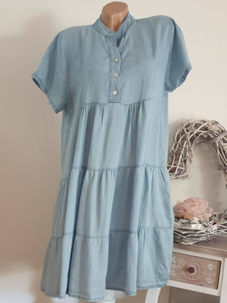 Kurzarm Tunika Kleid 38 40 42 jeansoptik Italy NEU Hängerchen Viskose