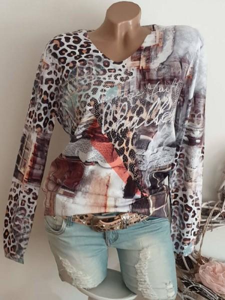 MISSY Leo bunt gemusterter Print S/M 36 38 Pulli Pullover V-Neck Feinstrick