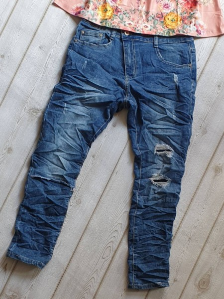 34 Destroyed unterlegt Jeans Hose PLACE DU JOUR Stretch schräger Zipper