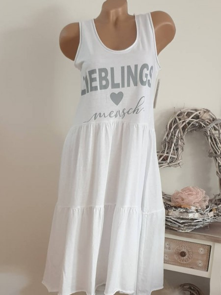 weiss Trägerkleid Statement 36 38 40 Tunika Kleid Stufenkleid