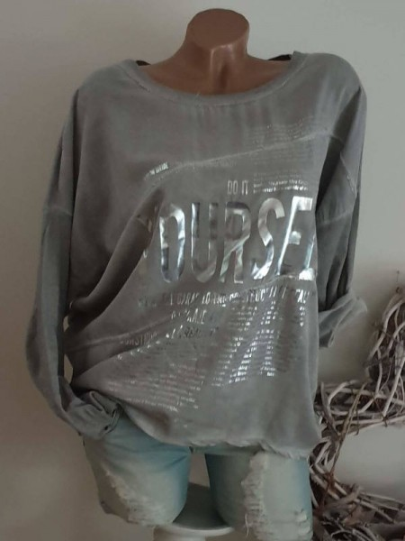 grau sichtbare Aussennähte Tunika 38 40 42 NEU Metallicprint Italienische Mode