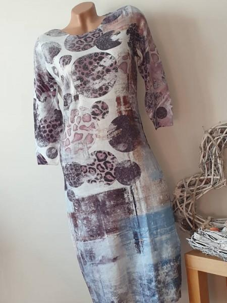 Leo Kreise L/XL 40 42 Print Feinstrick Kleid Strickkleid MISSY Glitzer 3/4 Ärmel