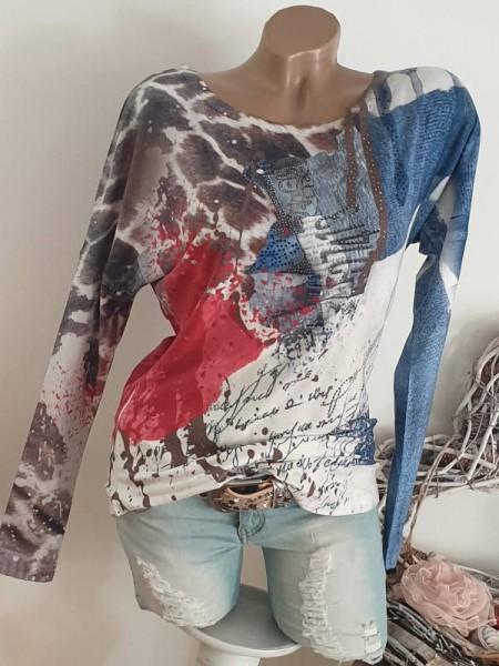 MISSY Langarmshirt Tunika XL 42 Farbklekse Letterprint Leo Glitzer Shirt