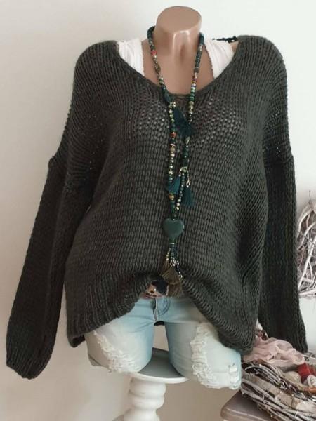 40 42 44 Pulli Grobstrickpulli Italy dunkelgrün Pullover Knit Italy