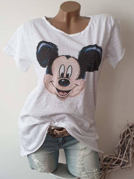 T-Shirt Shirt 36 38 40 42 Tunika weiss Mouse Glitzer Nieten Print unfinished