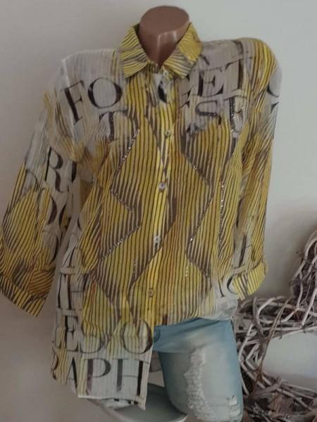 MISSY Bluse Hemdbluse XL 42 toller Print Tunika zum knöpfen NEU