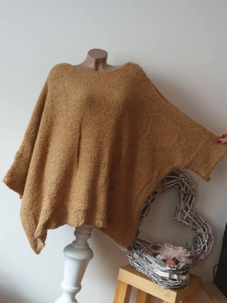 Pulli Überwurf zipfelig zimt braun kastenförmig Onesize Pullover Knötchenwolle