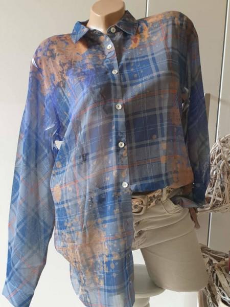 M 38 MISSY Bluse blau bunt Hemdbluse toller Print Tunika zum knöpfen NEU