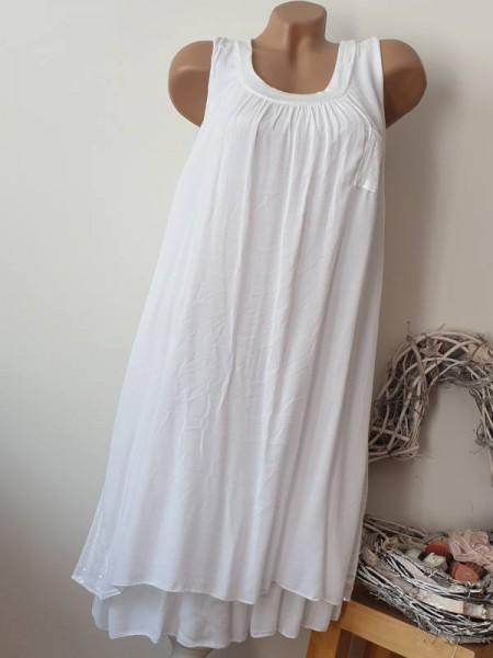 Strandkleid Tunika Kleid 2-lagig Pailetten Brusttasche weiss 36 38 40 Italy