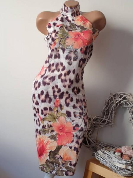 M 38 Kleid ärmellos Leo Flower Print Stehkragen MISSY Stretchkleid Neu Glitzer