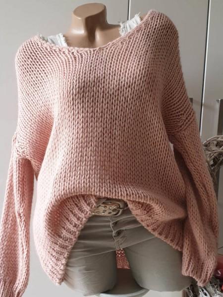 rosa oversized Grobstrick Knit Pullover 38 40 42 44 Pulli Ärmel überschnitten
