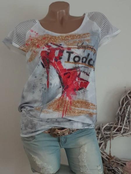 Ausbrenner breites Bündchen Tunika M 38 MISSY Shirt Print Glitzernieten